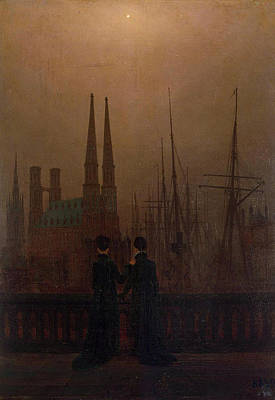 Dock Painting - Night In A Harbour, Sisters by Caspar David Friedrich