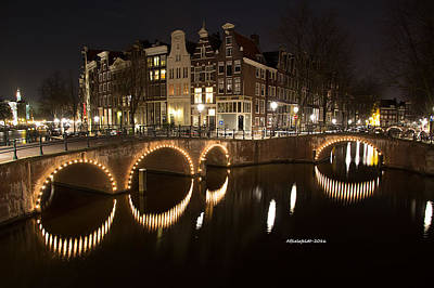 Bridge Photograph - Night In Amsterdam by April Bielefeldt