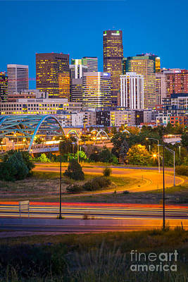 Denver Skyline Photograph - Night In Denver by Inge Johnsson
