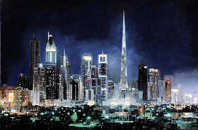 Skyscraper Painting - night in Dubai City by Guido Borelli