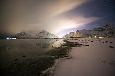 Photograph - Night In Flakstad Beach, Lofoten, Nordland by Dubi Roman