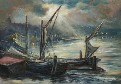 Painting - Night In Harbor by Luke Karcz