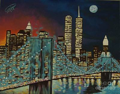 Painting - Night In Manhattan by Milagros Palmieri