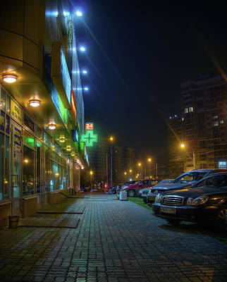 Photograph - Night In Moscow - Yellow Store by Alexey Kljatov