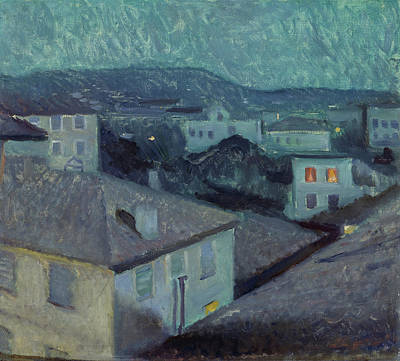 Construction Painting - Night In Nice by Edvard Munch