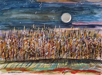 John Williams Drawing - Night In The Cornfield by John Williams