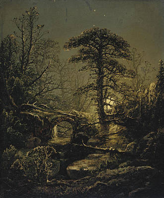 William Sonntag Painting - Night In The Forest by William Louis Sonntag