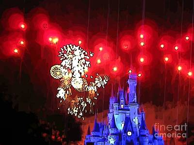 Fireworks Display Painting - Night In The Magic Kingdom by John Malone
