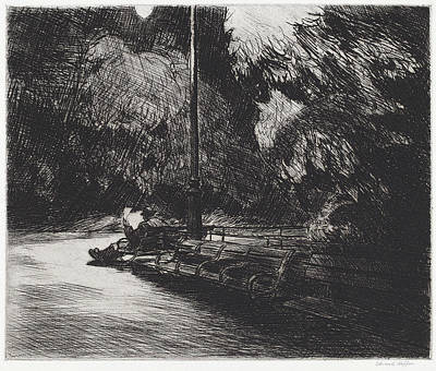 Drawing - Night In The Park by Edward Hopper