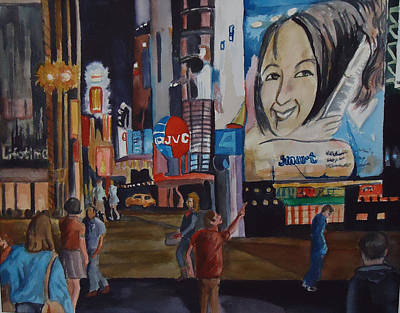Painting - Night In Time Square by Charme Curtin