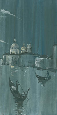 Painting - Night In Venice. Gondolas by Igor Sakurov