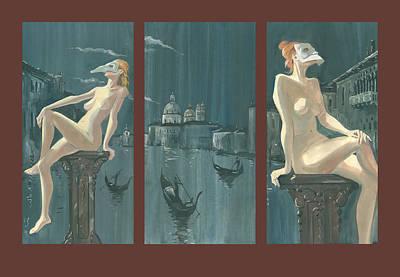 Painting - Night In Venice. Triptych by Igor Sakurov