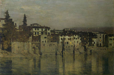Night In Verona Art Print by Bartolomeo Bezzi