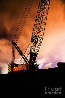Night Infrastructure Building Construction Art Print by Jorgo Photography - Wall Art Gallery