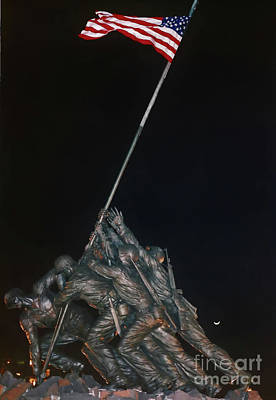 Photograph - Night - Iwo Jima - Memorial by D Hackett