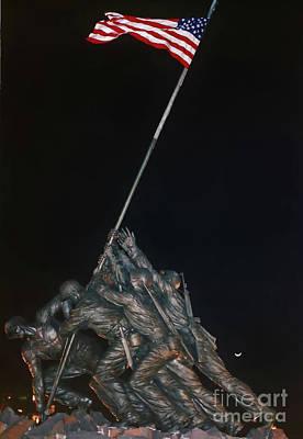 Photograph - Night - Iwo Jima - Memorial by D Hackett