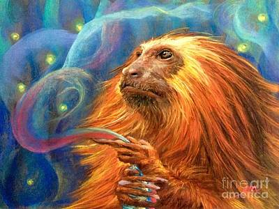Mixed Media - Night King Lion Haired Tamarin by Jieming Wang