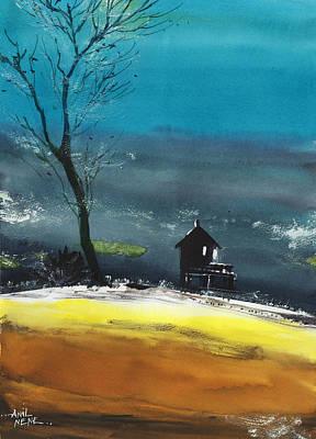 Beautiful Scenery Painting - Night Lamp by Anil Nene