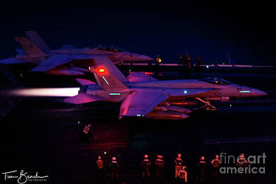 Photograph - Night Launch - Uss Kitty Hawk by Tim Beach