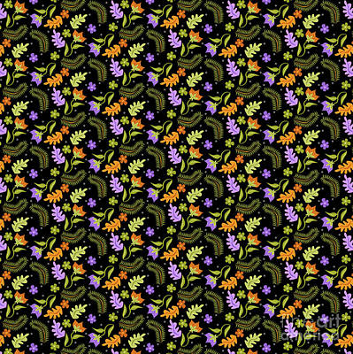 Digital Art - Night Leaves Pattern by Claire Huntley