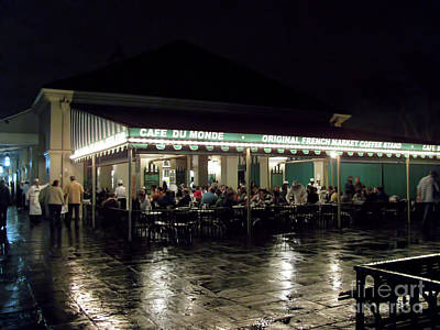 Photograph - Night Life At Cafe Du Monde by Steven Parker