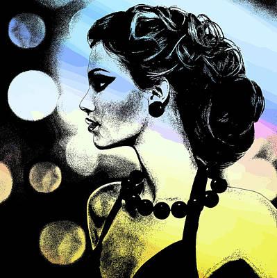 Mixed Media - Night Life City Woman Original Digital Art by Elizavella Bowers