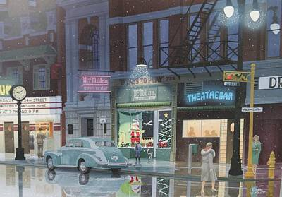 Painting - Night Life In The 1940s by C Robert Follett