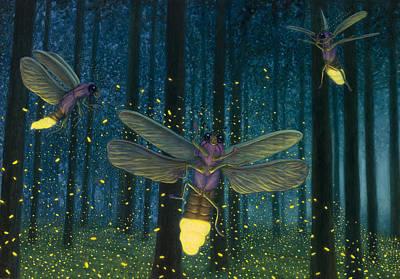 Painting - Night Light Flight by James W Johnson