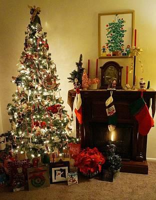Night Lighted Christmas Tree With Christmas Tree Painting Art Print