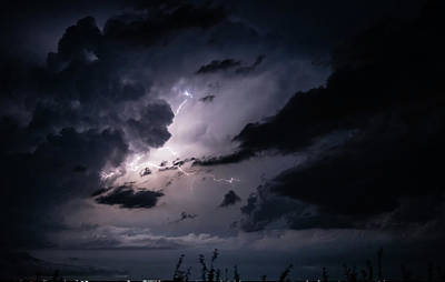 Photograph - Night Lightening by MaryAnn Janzen