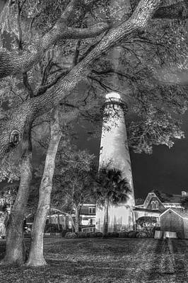 Photograph - Night Lighthouse Black And White by Debra and Dave Vanderlaan