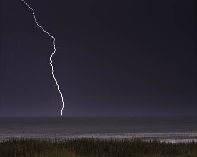 Photograph - Night Lighting Storm Over Myrtle Beach South Carolina by Gray  Artus