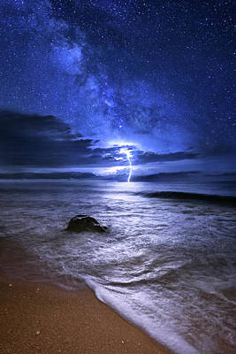 Photograph - Night Lightning Over Beach In Jupiter Florida by Justin Kelefas