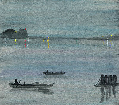 Painting - Night Lights And Boats by R Kyllo