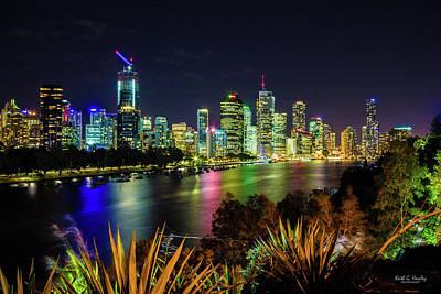 Photograph - Night Lights Brisbane by Keith Hawley