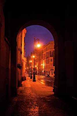 Photograph - Night Lights In Street Of Old Prague  by Jenny Rainbow