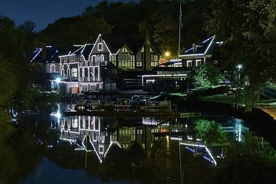 Night Lights Of Boathouse Row Print by Frozen in Time Fine Art Photography