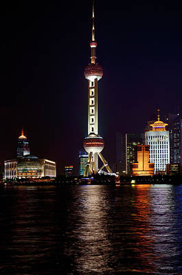 Shanghai Photograph - Night Lights Of Pudong East Side Oriental Pearl Tower Of Shangha by Reimar Gaertner