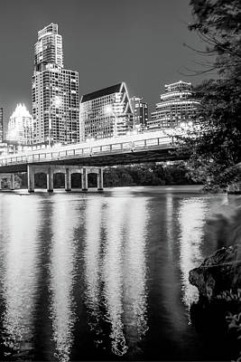 Photograph - Night Lights Of The Austin City Skyline - Black And White by Gregory Ballos
