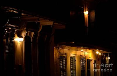 Photograph - Night Lights On Old Homes by Nadalyn Larsen