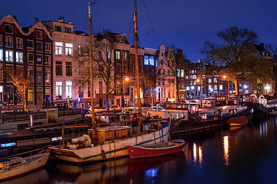 Night Lights On The Amsterdam Canals 7. Holland Art Print