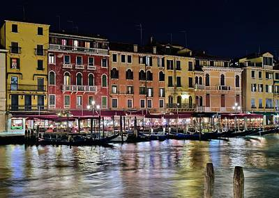 Gondola Ride Photograph - Night Lights On The Grand Canal by Frozen in Time Fine Art Photography