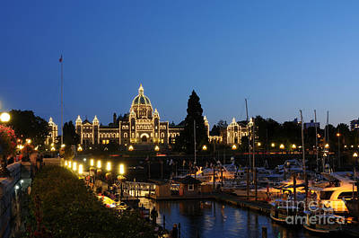 Photograph - Night Lights On Victoria Harbor by Sarah Schroder