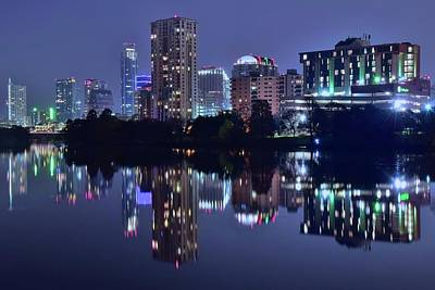 Photograph - Night Lights Reflect In Austin by Frozen in Time Fine Art Photography