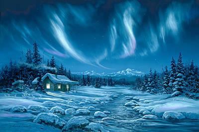Alaska Scene Painting - Night Lights by Shane Lamb