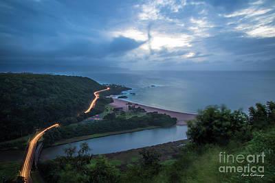 Photograph - Night Lights2 Waimea Bay North Shore Oahu Hawaii Art by Reid Callaway