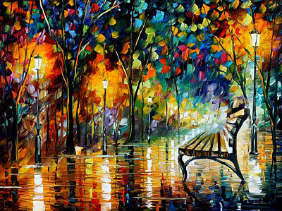 Resplendent Painting - Night Loneliness - Palette Knife Oil Painting On Canvas By Leonid Afremov by Leonid Afremov