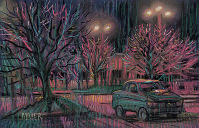 Drawing - Night Lot by Donald Maier