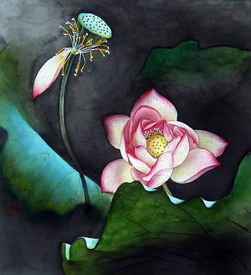 Night Lotus Art Print by Leaf Moore