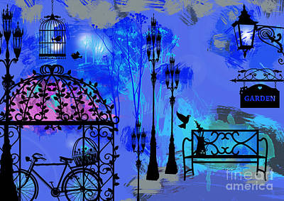 Night Love Garden  Art Print by Prar Kulasekara